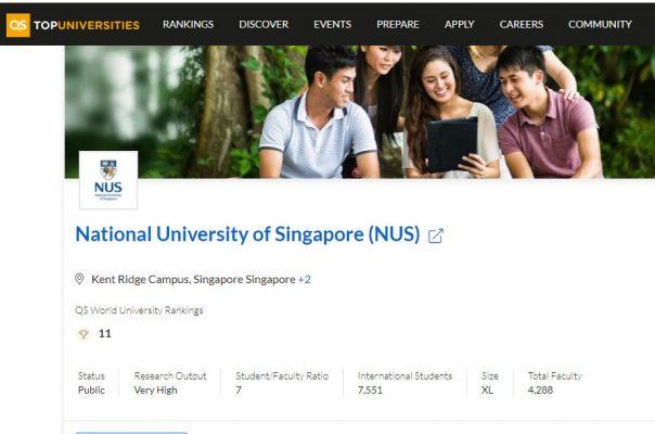 NUS đứng thứ 11 on TOP University